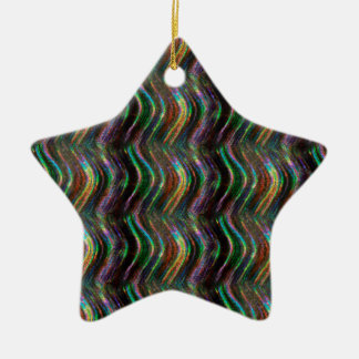 Dark Shiny Holographic Wave Pattern Pixel Christmas Ornament