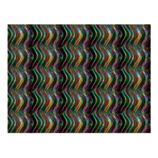 Dark Shiny Holographic Wave Pattern Pixel Post Cards