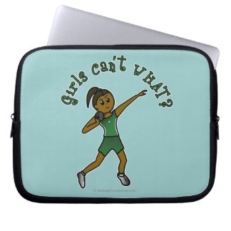 Dark Shot Put Girl in Green Uniform Computer Sleeve