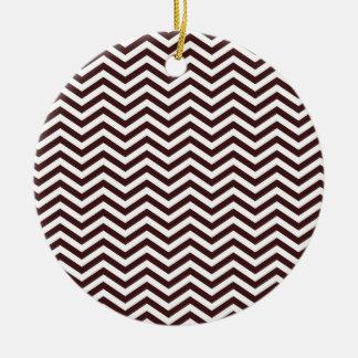 Dark Sienna Chevron; zig zag Round Ceramic Decoration