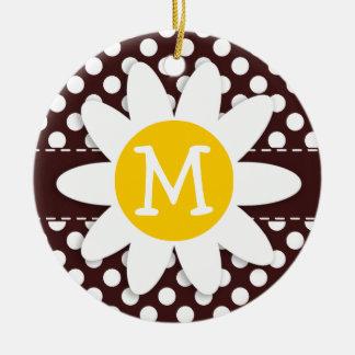 Dark Sienna Polka Dots; Daisy Christmas Ornament