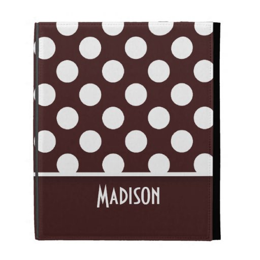 Dark Sienna Polka Dots; Personalized iPad Cases