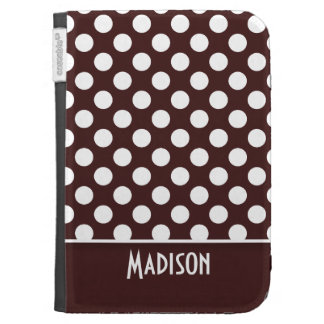 Dark Sienna Polka Dots; Personalized Kindle Cases