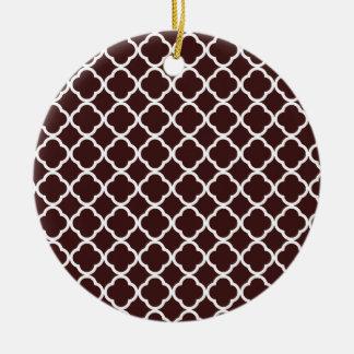 Dark Sienna Quatrefoil Christmas Tree Ornament