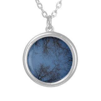 Dark silhouetted trees custom necklace