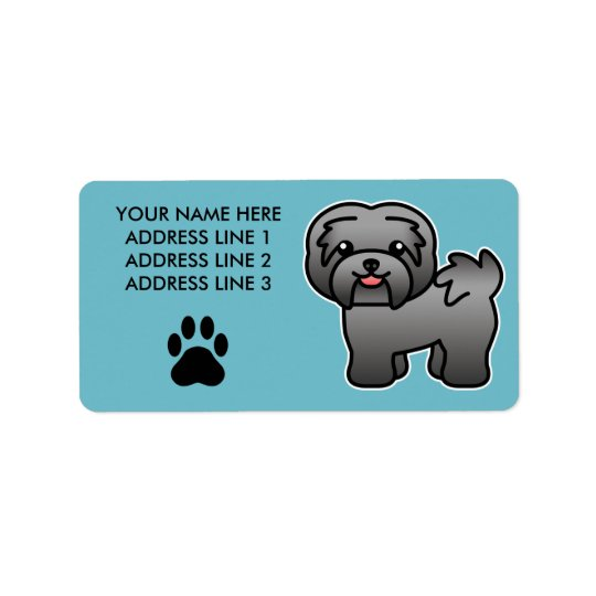 Dark Silver Cartoon Havanese Address Label