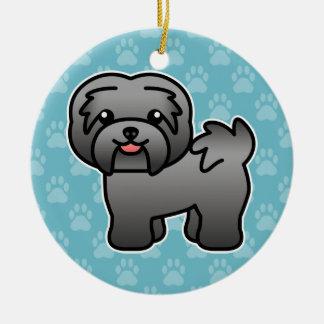 Dark Silver Cartoon Havanese Christmas Ornament