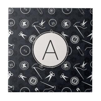 Dark Silver Sewing Pattern with Monogram Ceramic Tiles