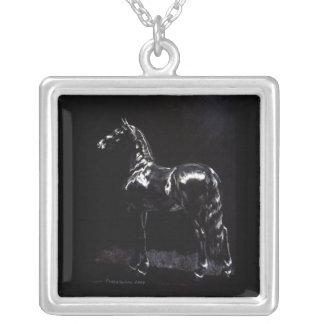 Dark Silver Square Pendant Necklace