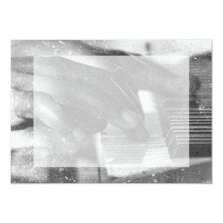 dark skin hands bw playing piano keyboard grunge 13 cm x 18 cm invitation card