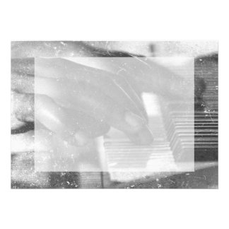 dark skin hands bw playing piano keyboard grunge personalized announcements