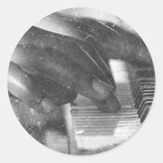dark skin hands bw playing piano keyboard grunge sticker