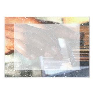 dark skin hands playing piano keyboard grunge 13 cm x 18 cm invitation card