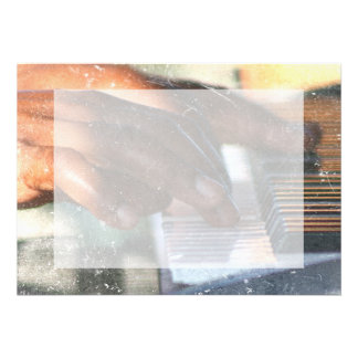 dark skin hands playing piano keyboard grunge invitation