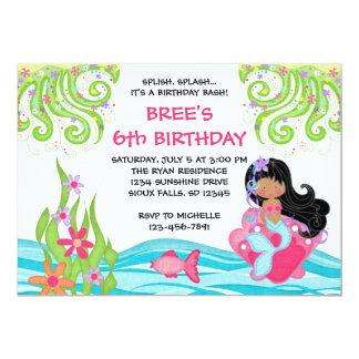 "Dark Skin Mermaid Birthday Invitations 5"" X 7"" Invitation Card"