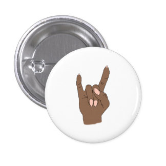 Dark Skin Rock On Round Fashion Button