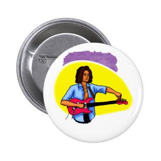 Dark skinned guitar player tuning pink red guitar pin