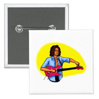 Dark skinned guitar player tuning pink red guitar pins