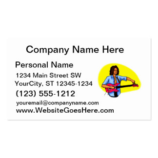 Dark skinned guitar player tuning pink red guitar business card templates