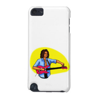 Dark skinned guitar player tuning pink red guitar iPod touch (5th generation) cover