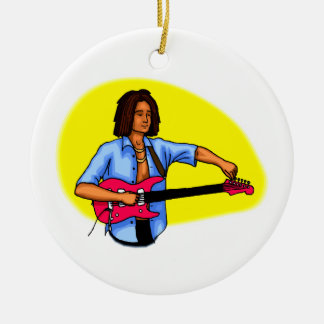 Dark skinned guitar player tuning pink red guitar Double-Sided ceramic round christmas ornament