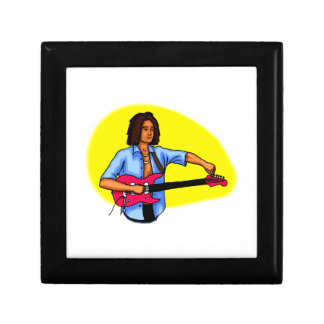 Dark skinned guitar player tuning pink red guitar jewelry box