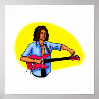 Dark skinned guitar player tuning pink red guitar print