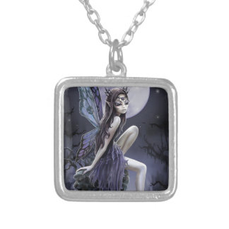Dark Skull Fairy Square Pendant Necklace