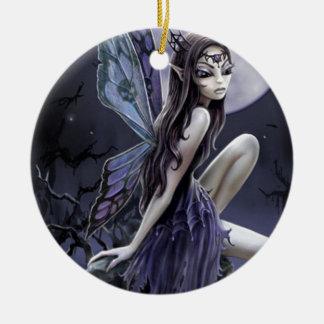 Dark Skull Fairy Round Ceramic Decoration