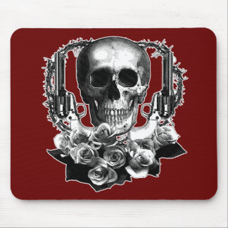 Dark- Skull Guns and Roses Black and White Mouse Mat