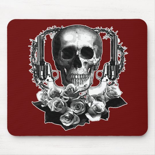 Dark- Skull Guns and Roses Black and White Mouse Pad