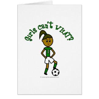 Dark Soccer Girl in Green Greeting Card