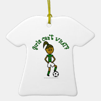 Dark Soccer Girl in Green Ornament