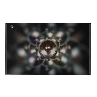 Dark spinning music speakers iPad cover