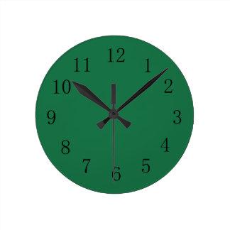Dark Spring Green Color Wall Clock