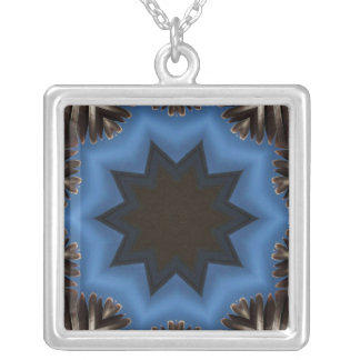 Dark star abstract design square pendant necklace
