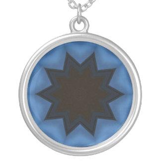 Dark star abstract design round pendant necklace