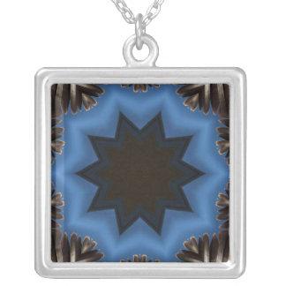 Dark star abstract design square pendant necklace