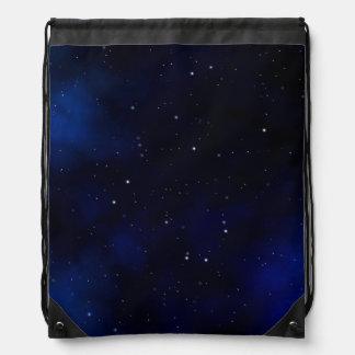 Dark Starry Night Sky Drawstring Bag