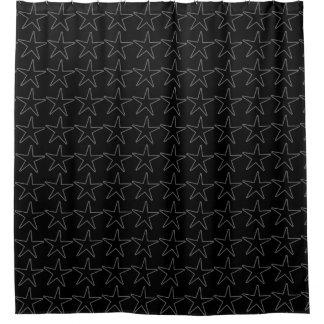 Dark Stars Black and Grey Shower Curtain