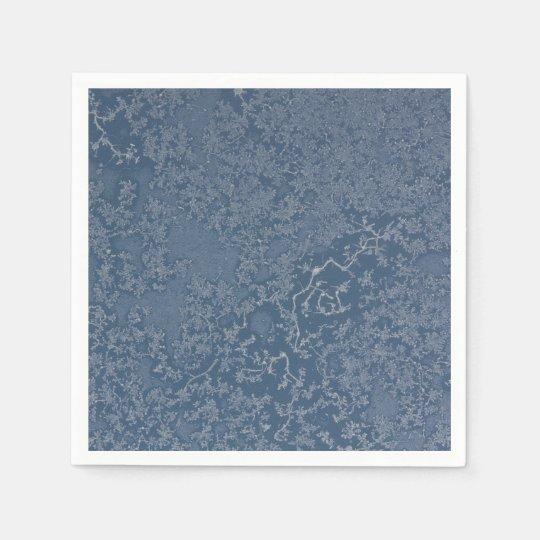 Dark Steel Blue Icy Crystals Disposable Serviette