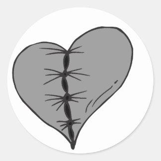 Dark Stitched Heart Round Sticker