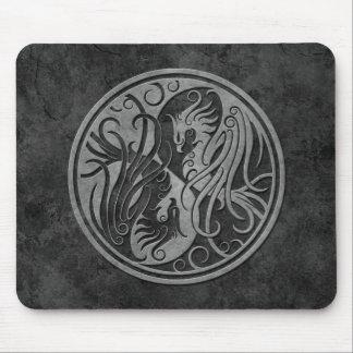 Dark Stone Yin Yang Phoenix Mouse Pad