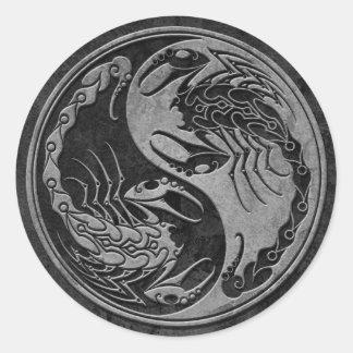 Dark Stone Yin Yang Scorpions Classic Round Sticker