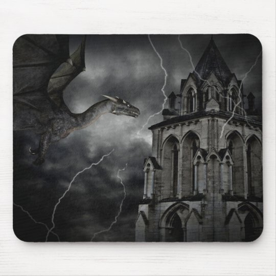 Dark stormy night gothic fantasy dragon mouse mat