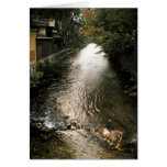 Dark Stream through Gion District Stationery Note Card