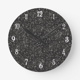 Dark Stylish Silver Grey Glitter Round Clock