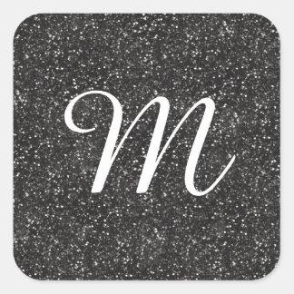 Dark Stylish Silver Grey Glitter Square Sticker