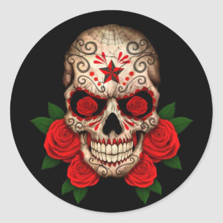 Dark Sugar Skull with Red Roses Classic Round Sticker