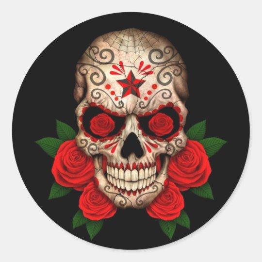 Dark Sugar Skull with Red Roses Classic Round